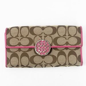 COACH Large Signature Logo Beige Pink Fold Wallet